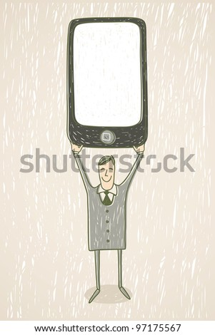 Businessman with mobile phone - stock vector