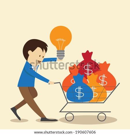Businessman with money cart - stock vector