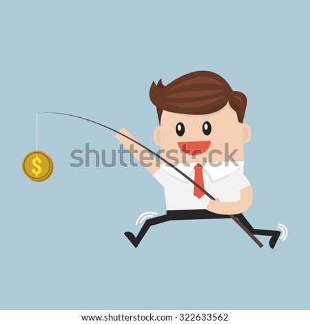 Businessman with money on fishing rod. vector. flat design