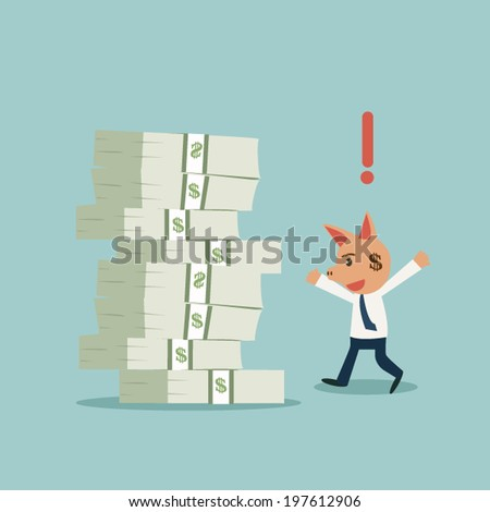 Businessman with moneybox instead of his head and found money. - stock vector