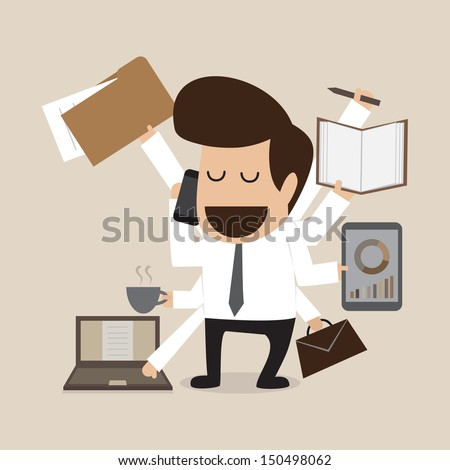 Businessman with multi tasking and multi skill - stock vector