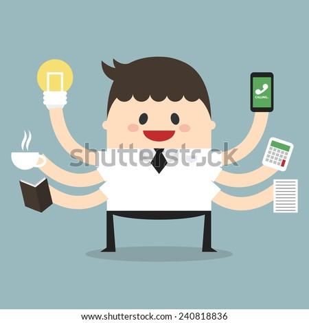 Businessman with multi tasking and multi skill, flat design, vector, illustion - stock vector