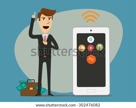 Businessman with multimedia work with smart phone