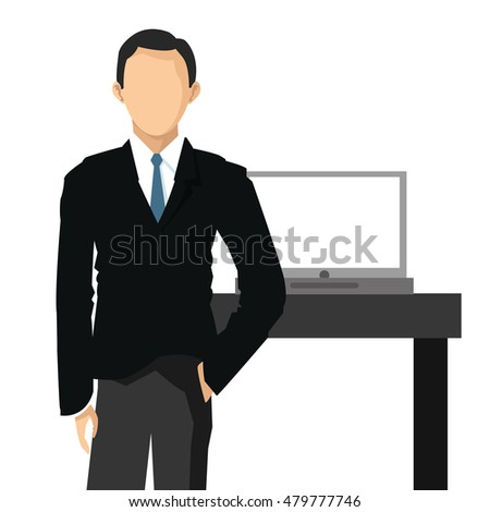 businessman with office related items