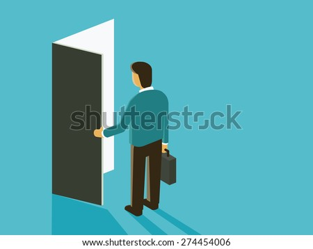 Businessman with opening door. Abstract vector illustration in opportunity concept.  Flat design in simple style.   - stock vector