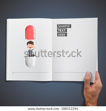 Businessman with pills printed on book. Vector design  - stock vector