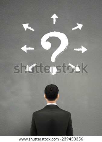 businessman with question mark above head over grey  - stock vector