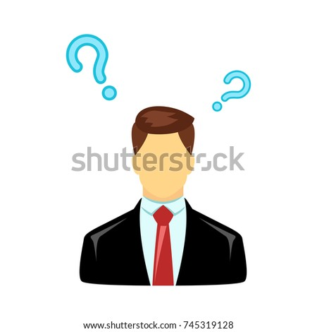 Businessman Question Mark Isolated On White Stock Vector 745319128