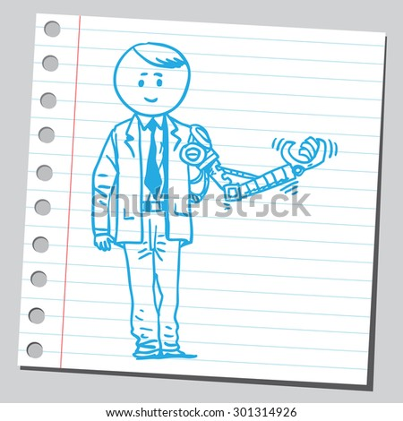 Businessman with robotic hand - stock vector