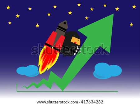 Businessman with rocket up high stock or graph. Business vector illustration cartoon character abstract concept.