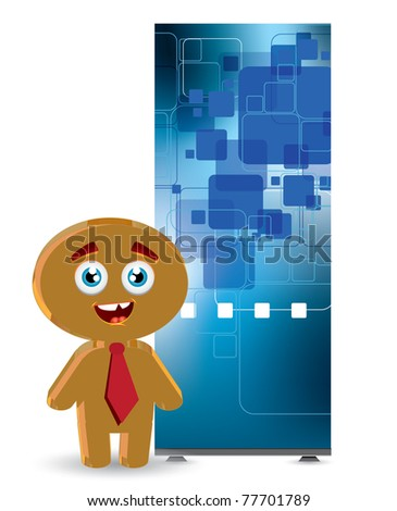 Businessman with roll up - stock vector