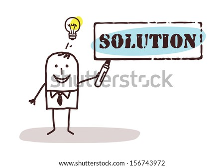 businessman with solution sign - stock vector