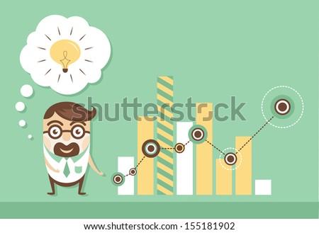 Businessman with spark Idea.  Presentation. Vector illustration - stock vector
