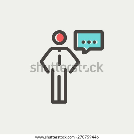 Businessman with speech bubble icon thin line for web and mobile, modern minimalistic flat design. Vector icon with dark grey outline and offset colour on light grey background. - stock vector