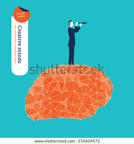Businessman with spyglass on a techno brain. Vector illustration Eps10 file. Global colors. Text and Texture in separate layers. - stock vector