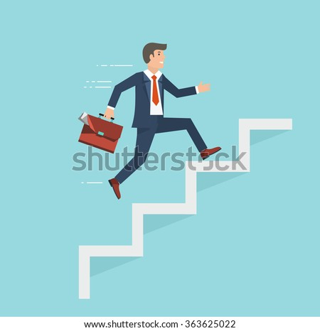 Businessman with suitcase climbing the stairs of success. Flat style vector illustration. - stock vector