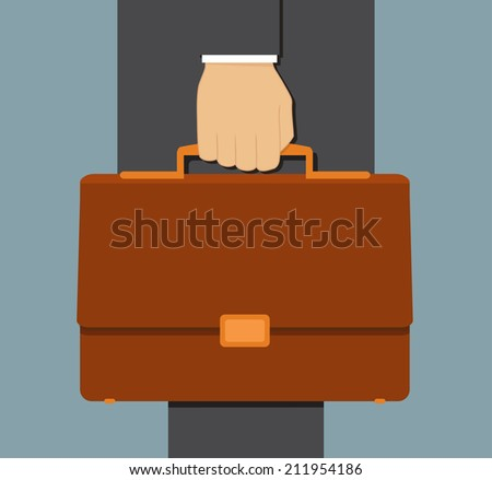 Businessman with suitcase. Flat vector illustration - stock vector