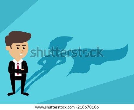 Businessman with superhero cape shadow scene vector illustration - stock vector