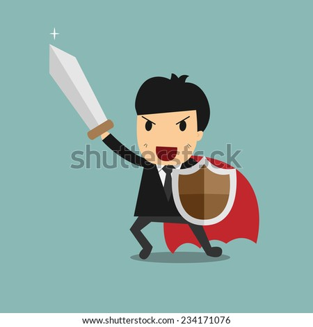 Businessman with sword and shield. Business Defending , Hero , knight Concept - stock vector