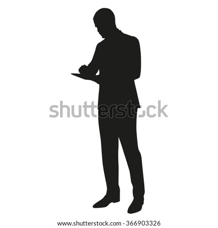 Businessman with tablet, vector silhouette - stock vector