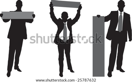 businessman with the poster - stock vector
