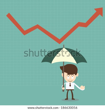 businessman with umbrella and red arrow