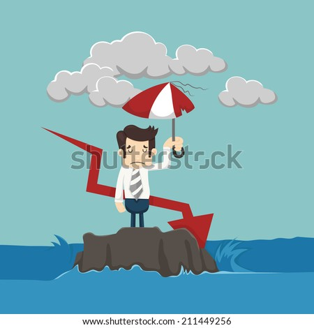 Businessman with umbrella standing in the sea  , eps10 vector format - stock vector