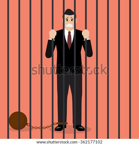 Businessman with weight in prison. Business concept - stock vector