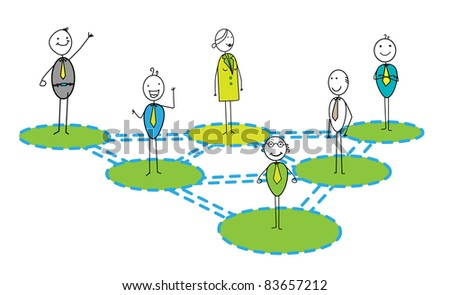 Businessman & woman networking Link - stock vector