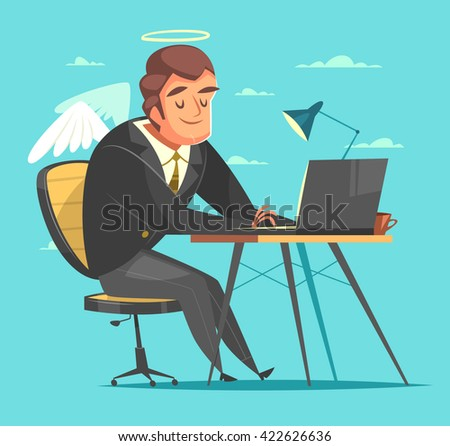 Businessman working at his office desk. Cartoon style character. Vector illustration.   - stock vector
