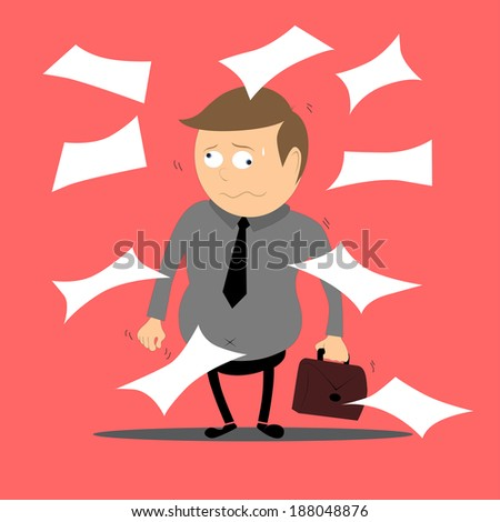 Businessman working hard, VECTOR, EPS10