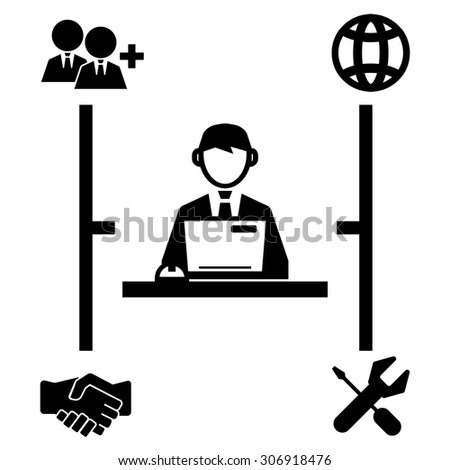 businessman working on computer icon - stock vector