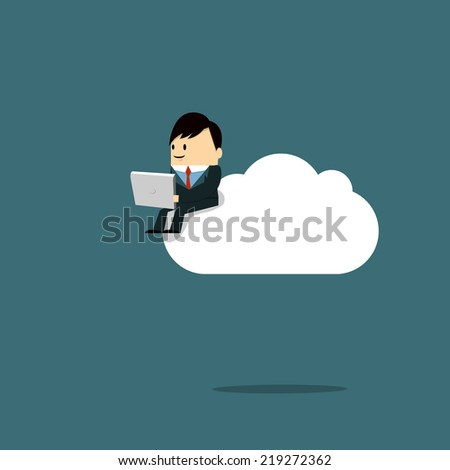 Businessman working on laptop on the cloud - Illustration - stock vector