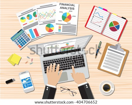 Businessman workplace wooden desk. Hands Working Laptop. Table with coffee cup, smartphone, financial documents, pen, calculator, sticky notes. vector illustration in flat design - stock vector