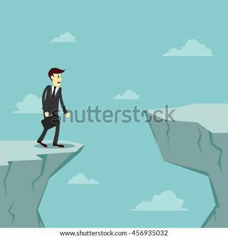 Businessman worry about how to cross over the gap of cliff, Vector illustration