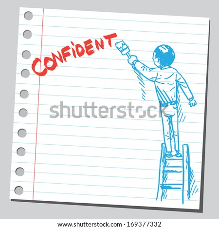 Businessman write word CONFIDENT