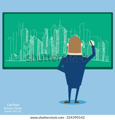 Businessman writing Doodle Cityscape on the blackboard, Vector Illustration EPS 10. - stock vector