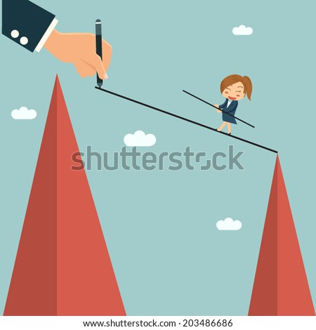 Businessman writting way for his partner to easy cross other hill, mentor and partnership concept. - stock vector
