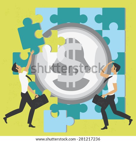 Businessmen and the puzzle of money Illustration of the concept of two businessmen solving the puzzle of money. The grunge texture is removable from the background. - stock vector