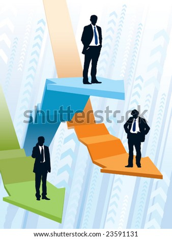Businessmen are riding on large graphs, conceptual business illustration. - stock vector
