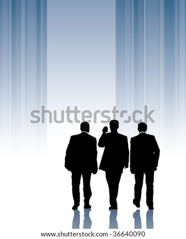 Businessmen are walking forward to a light, conceptual business illustration. - stock vector
