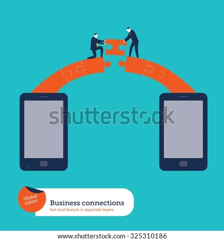 Businessmen building a puzzle bridge between two smartphones. Vector illustration Eps10 file. Global colors. Text and Texture in separate layers. - stock vector