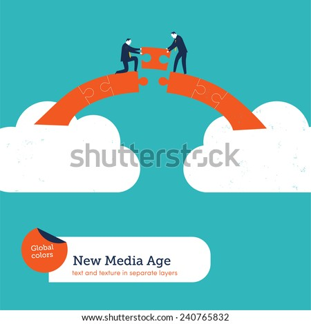 Businessmen building a puzzle bridge from cloud to cloud. Vector illustration Eps10 file. Global colors. Text and Texture in separate layers. - stock vector