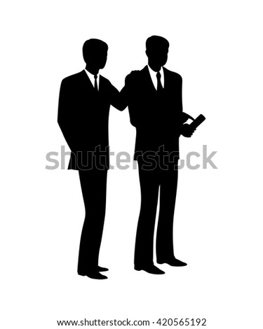 Businessmen came to discuss the information on the phone.Black contour image.
