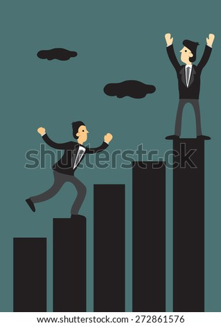 Businessmen climbing to the top of bar chart. Creative vector illustration for business concept. - stock vector