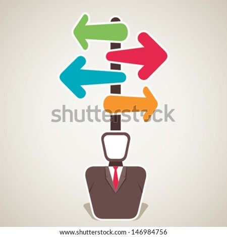 businessmen confuse about direction stock vector