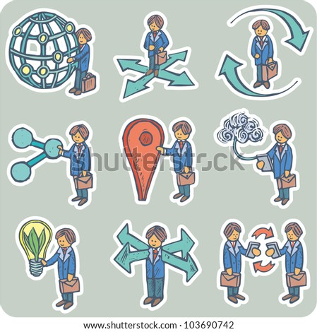 Businessmen dealing with various communication concepts - stock vector