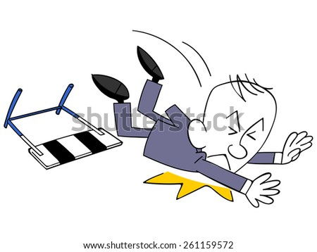 Businessmen fall by hooking your feet on the hurdle - stock vector