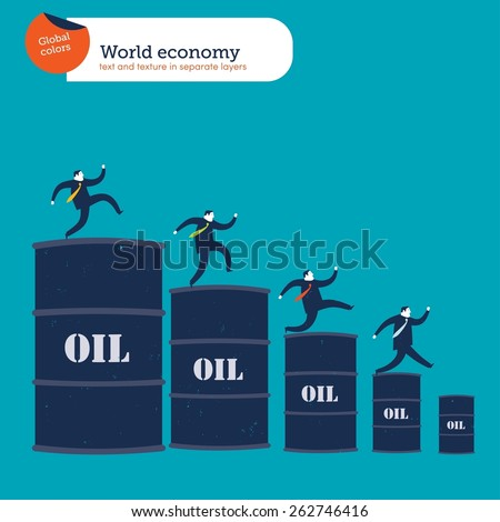 Businessmen going down an oil barrel's chart.  Vector illustration Eps10 file. Global colors. Text and Texture in separate layers.