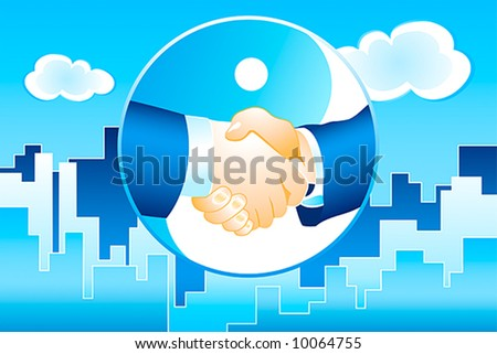 businessmen handshake on the modern mega polis background in blue vector - stock vector